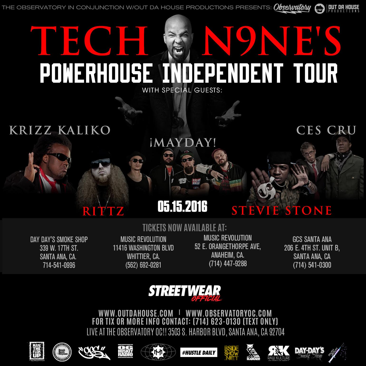 TECH N9NE, KRIZZ KALIKO, RITTZ + More at OBSERVATORY OC!!